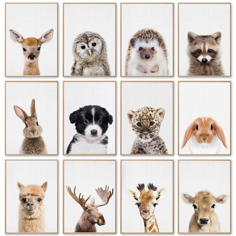Картина на холсте, животное, олень, кролик, жираф