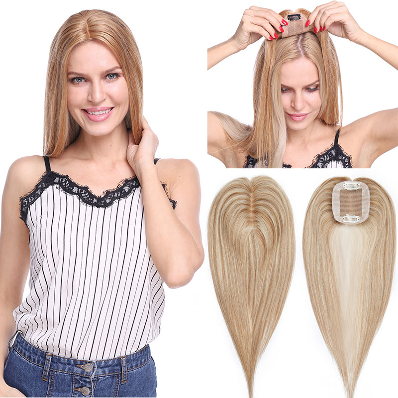 SEGO 6x9cm Straight Hair Topper 100% Real Human Hair Wig Small Toupee For Women Hairpieces Non-remy Indian Hair 110% Density