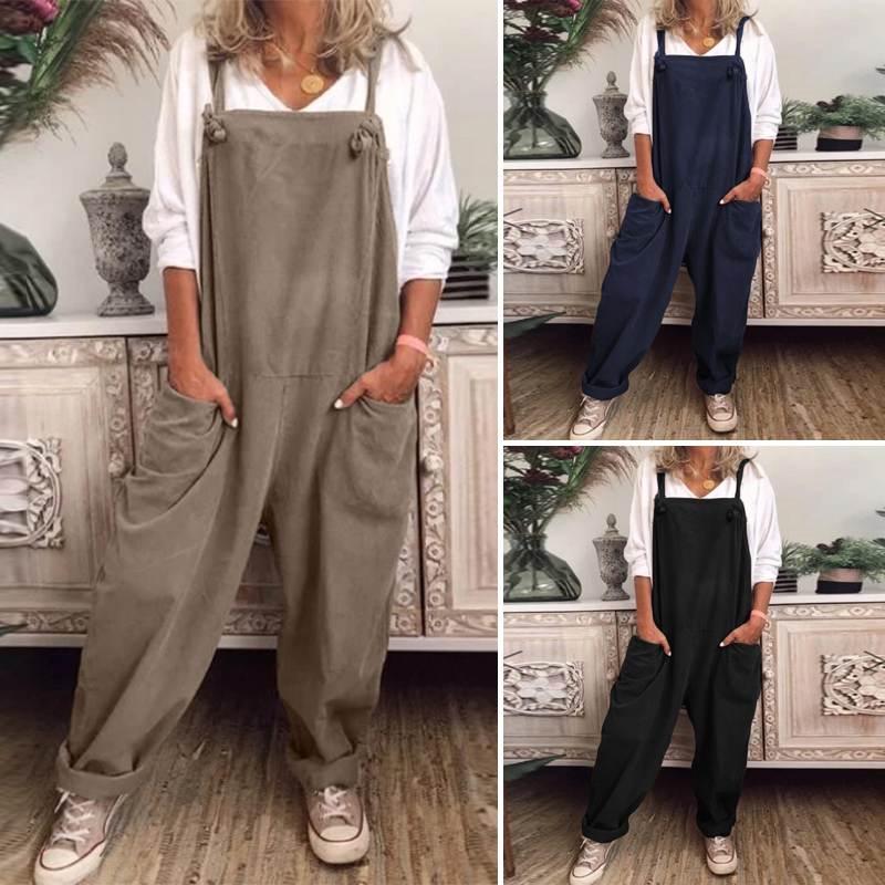 ZANZEA Rompers Womens Jumpsuit Sleeveless Suspender Female Fashion Wide Legs Jumpsuits Loose Pockets Overalls Combinaison Femme