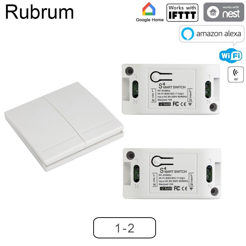 Rubrum RF 433 AC 220V Receiver Smart Home Wifi Wireless Remote Control Smart Switch Smart Life/Tuya APP Works With Alexa Google