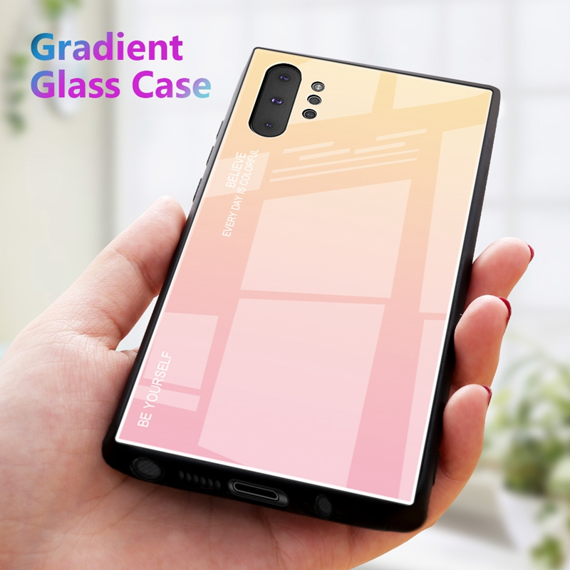 KEYSION Gradient Glass Phone Case For Samsung Galaxy Note 10 Plus Soft TPU Edge Hard Glass Back Cover For Samsung Note10 Note10 in Fitted Cases from Cellphones Telecommunications
