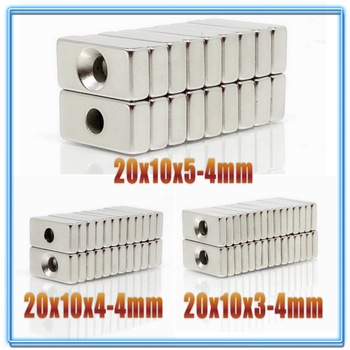 5~200pcs 20x10x3 20x10x4 20x10x5 mm Hole 4mm N35 Super Strong Block Countersunk   Magnets Rare Earth Permanent Neodymium Magnet