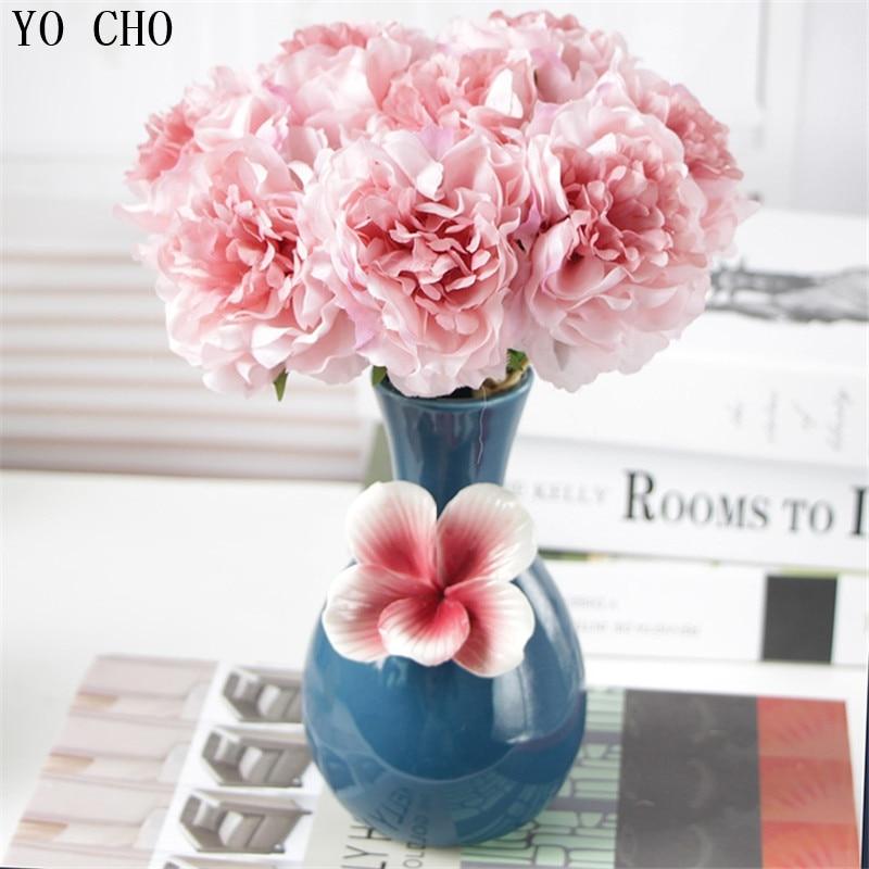 Small Peony Hydrangea Artificial Bouquet Bridal Flowers Silk Hydrangea Fake Flowers Pink Wedding Table Home Decor Flower Bundle