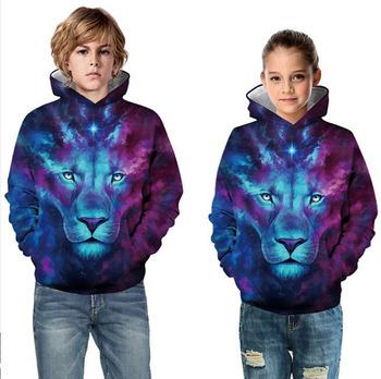 3D bluzy błyskawica lew bluzy z kapturem jesień zima kolorowe Lion nieregularny wzór bluza topy chłopcy dziewczęta dzieci bluzy tanie i dobre opinie lucky friday Film i TELEWIZJA Kurtki Płaszcze Unisex the mountain spandex XS S M L XL kostiumy
