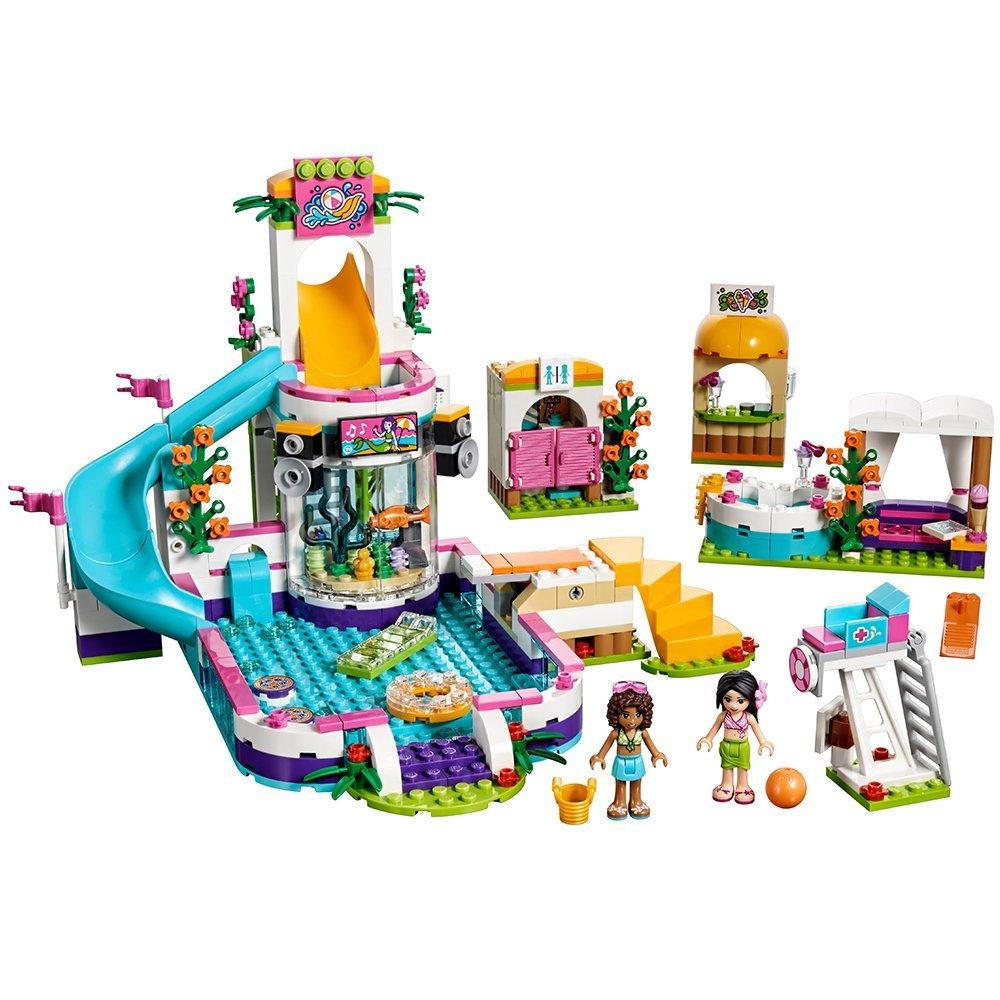 675pcs Building Blocks The Heartlake Summer Pool Bricks Figure Toys For Children Compatible Lepining Friends