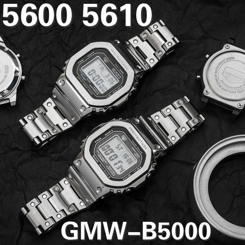 DW 5600 Metal Strap Band 316L Stainless Steel Watchband Case For GW-5000 5035 GW-M5610 DW5600 Steel Belt Watch Band + Tools