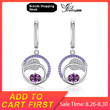 JewelryPalace Leaf 1.7ct Created Alexandrite Sapphire Purple Cubic Zirconia Dangle Drop Earrings 925 Sterling Silver Earrings jewelrypalace elegant 2 43ct created alexandrite sapphire cubic zirconia halo adjustable bracelets for women 925 sterling silver