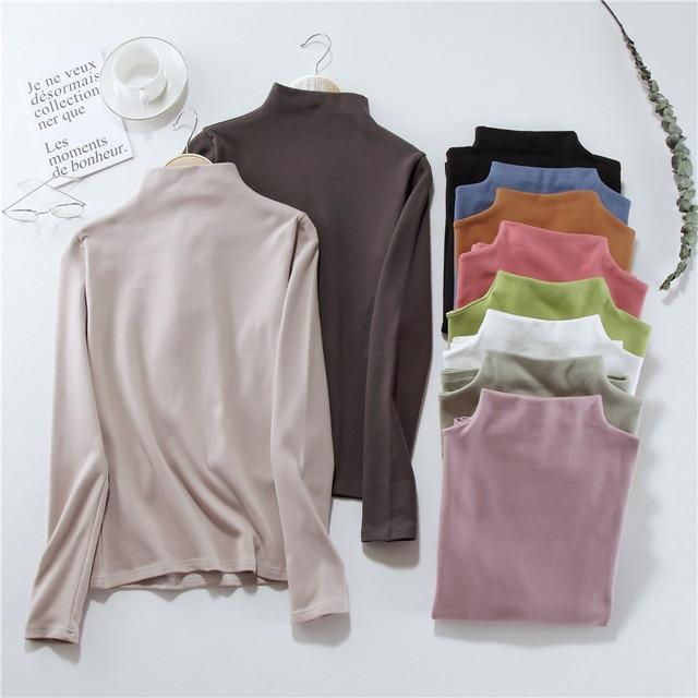 2021 autumn Black White solid Women Long Sleeve T-shirts half Turtleneck Female T-shirt Casual slim T shirt Bottoming Shirt top 2