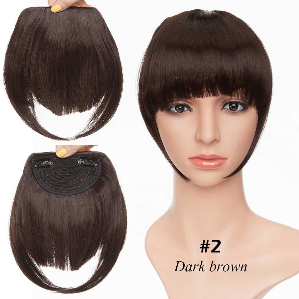 SNOILITE короткие передние тупые челки Клип короткая челка волосы для наращивания прямые синтетические настоящие натуральные накладные волосы - Цвет: dark brown