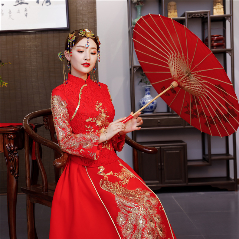 2020 Bridesmaid Dresses Long Style Wedding Clothes Dress Longfeng Existing Show Kimono Banquet Toast Clothing Wholesale Dresses