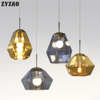 Nordic Post modern Colored Diamond Glass Pendant Lamps Living Room Restaurant Bedroom Dining Room Creative Lava Pendant Lights
