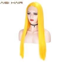 AISI HAIR สีขาวสังเคราะห์ลูกไม้ด้านหน้าด้านหน้าวิกผมยาวตรงวิกผมผู้หญิง 24 นิ้วกลางสีดำสีแดงคอสเพลย์หรือ wigs 13X4