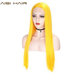 Image 1 - AISI HAIR สีขาวสังเคราะห์ลูกไม้ด้านหน้าด้านหน้าวิกผมยาวตรงวิกผมผู้หญิง 24 นิ้วกลางสีดำสีแดงคอสเพลย์หรือ wigs 13X4