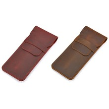 2x Large Handmade Pencil Bag Cowhide Retro Style Accessories Travel Diary Pencil Case Brown & Red(China)