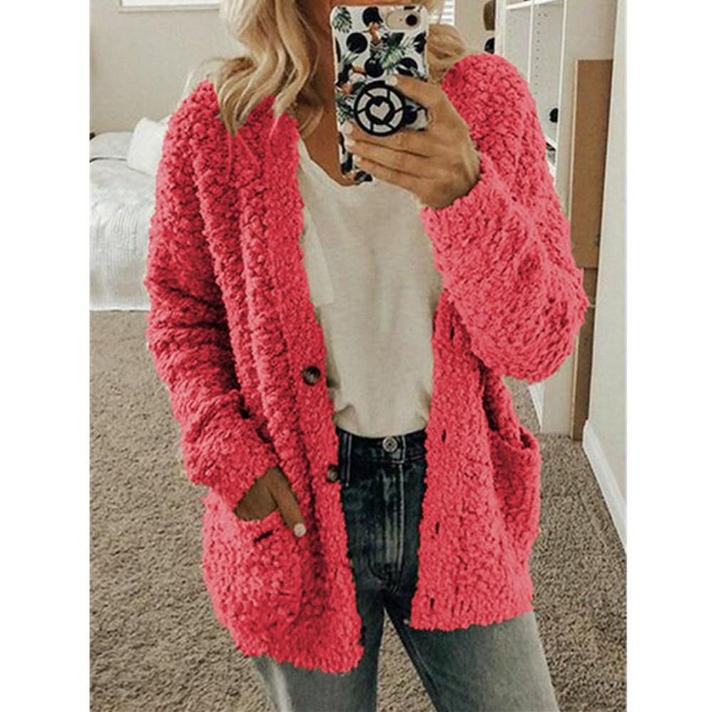 OEAK Warm Cardigan Sweater Autumn Winter Women Sweaters Loose Womens Knitted Coats Casual Solid Plus Size Sweaters S-5XL