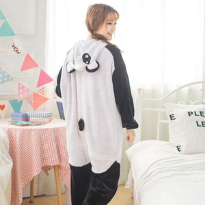 Image 3 - Adult Panda Cartoon Kigurumi Cosplay Costume Women Loose Kid Winter Animal Onesie Jumpsuit Boy Anime Flannel Pajamas Sleepwear