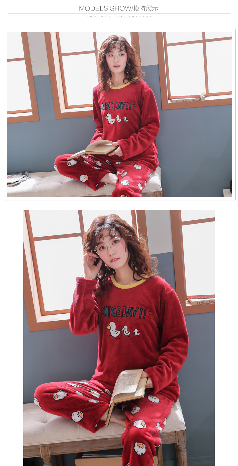 Long Sleeve Warm Flannel Pajamas Winter Women Pajama Sets Print Thicken Sleepwear Pyjamas Plus Size 3XL 4XL 5XL 85kg Nightwear 359