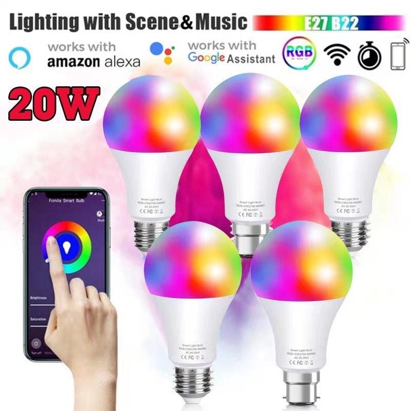 Умные Светодиодные лампы E27 с Wi-Fi, лампа с инфракрасным дистанционным управлением и управлением через приложение, с регулируемой яркостью, с...