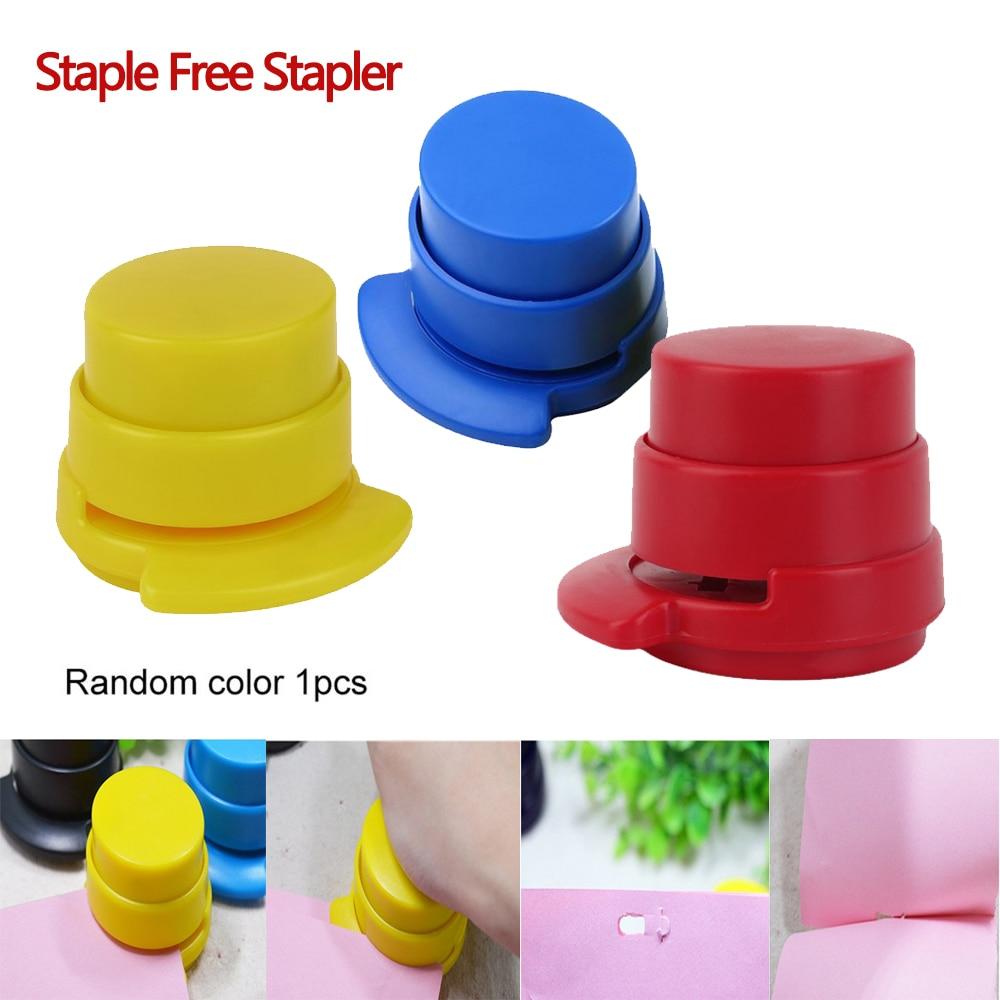 Staple Free Stapler Mini Stapleless Stapler Paper Binding Binder Paperclip Punching Office School Stationery Drop Shipping