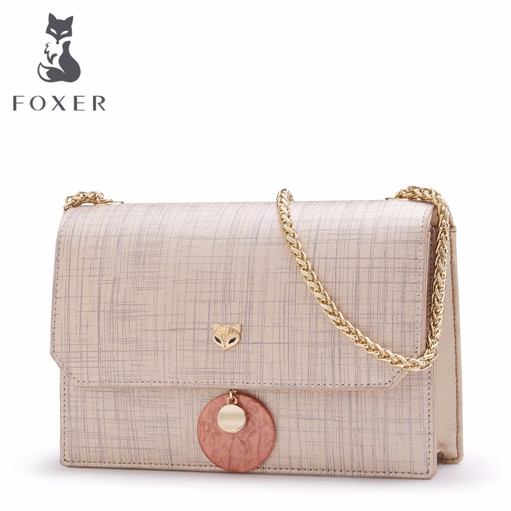 FOXER Brand Cow Leather Women Crossbody Shoulder Bag Female Messenger Bags Girl Cross-body Bags Valentine's Day Gift