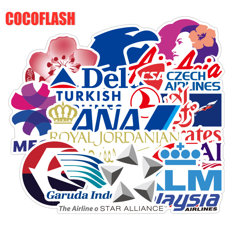 10/52Pcs/SET New Style Airline Logo High Quality Stickers Aviation Travel Trip For Suitcase Laptop Decal DIY Waterproof Sticker