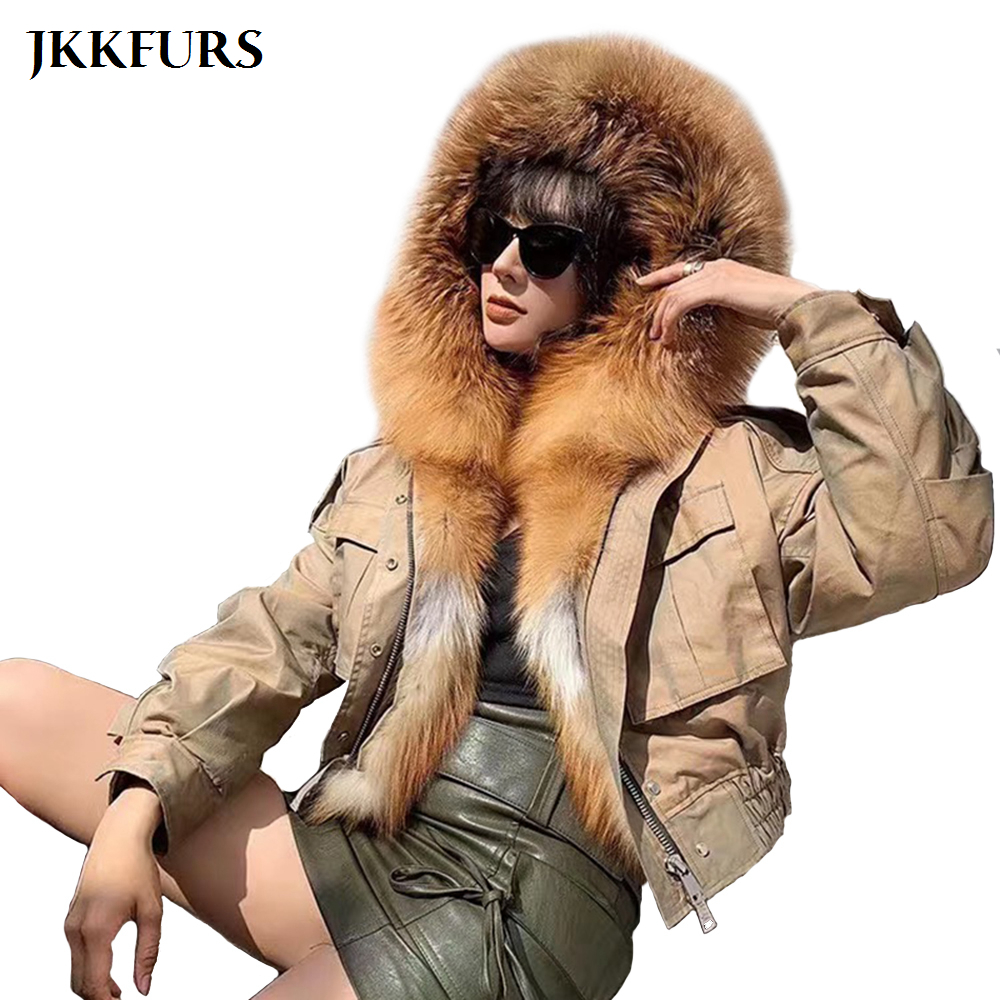 2019 New Women's Real Fur Parka Natural Fox Fur Collar Winter Thick Warm Real Fur Coat Hooded Lamb Fur lined Bomber Jacket S7652 image