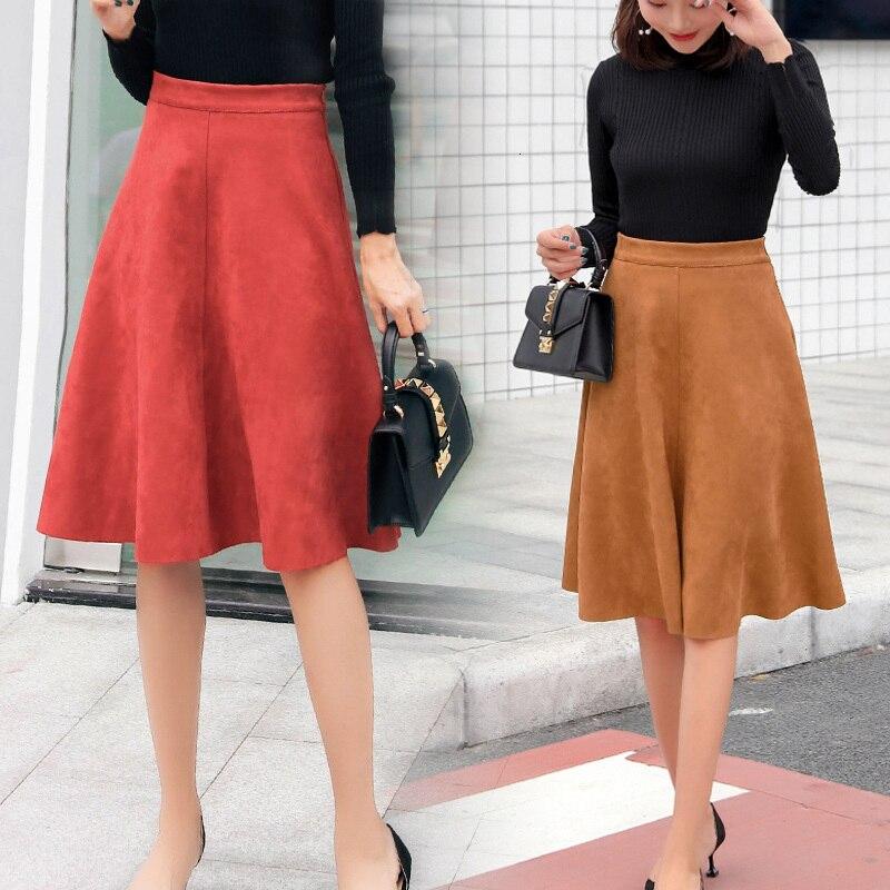 Женская замшевая миди юбка с высокой талией 2019 зимняя винтажная стильная плиссированная Женская трапециевидная черная Расклешенная Юбка Saia Femininas