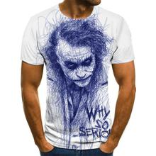 Horror clown men's T-shirt funny clown face tops 3D printed Cool fashion short-sleeved shirt Joker Clothes streetwear