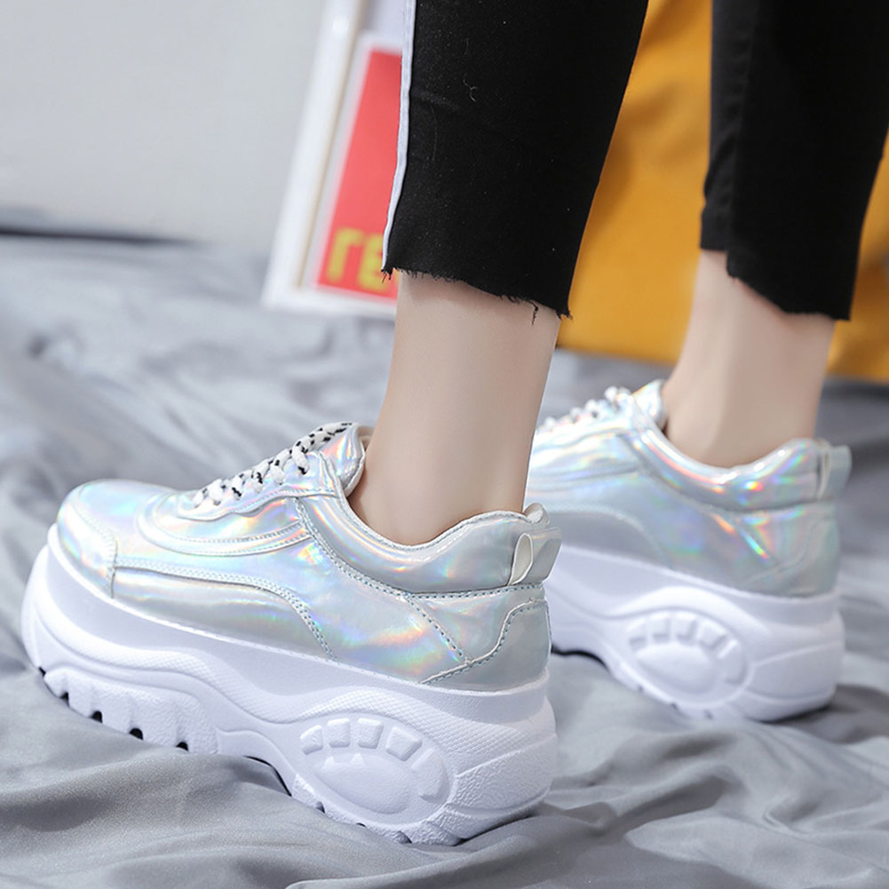 Woman High Platform Metallic Sneakers 11