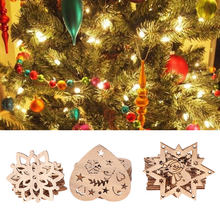 10PCS Natural Wooden Xmas Hanging Chips Christmas Tree Santa Claus Snowman Pendant Ornament Home Decor Party Supplies DIY Crafts(China)