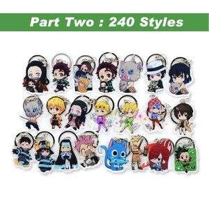 Hot Sales Anime Key Chain Demon Slayer Chibi Keyring 1 Pcs High Quality Cartoon Keychain Accessories Charms Acrylic Pendant(China)