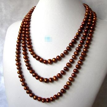 """86"""" 7-8mm Coffee Freshwater Strands Off Round Cultured Pearl Necklace"""