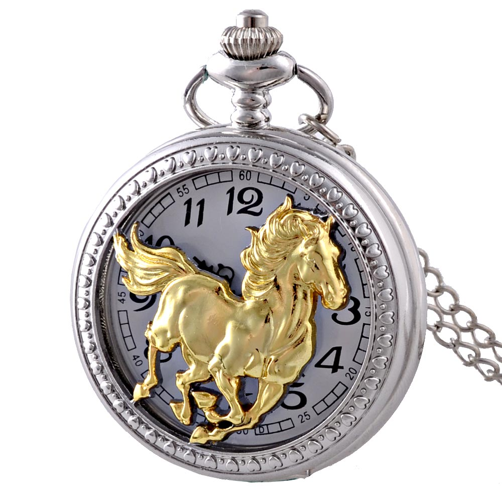 New Arrivals Silver Gold Horse Hollow Quartz Pocket Watch Vintage Men Women Pendant Necklace Gift