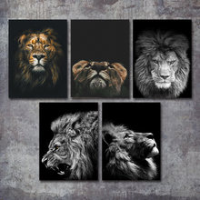 Wild Animal Lion Poster Art Print Wall Pictures Nordic Black and White Canvas Painting Living Room Minimalism Pop Art Home Decor(China)