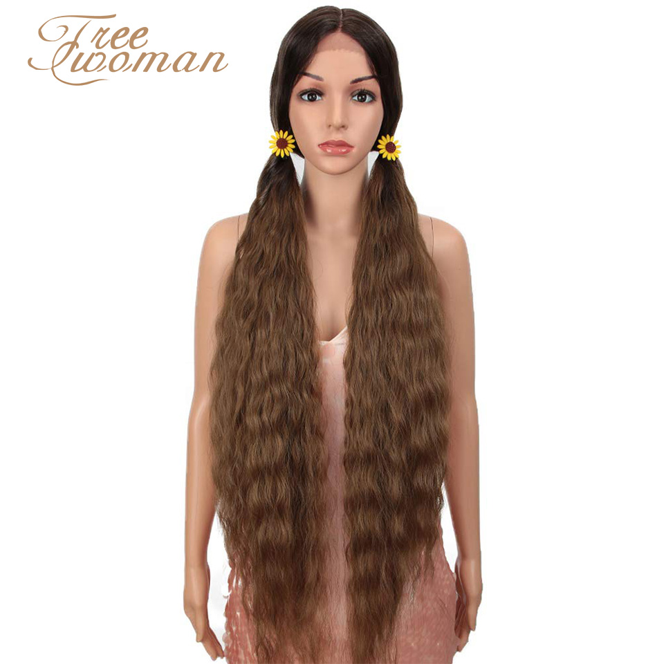 FREEWOMAN Synthetic Lace Front Wig Curly Hair Synthetic  Wigs For Black Women Cosplay Blonde Ombre 613 Lace Front Wig 42Inch
