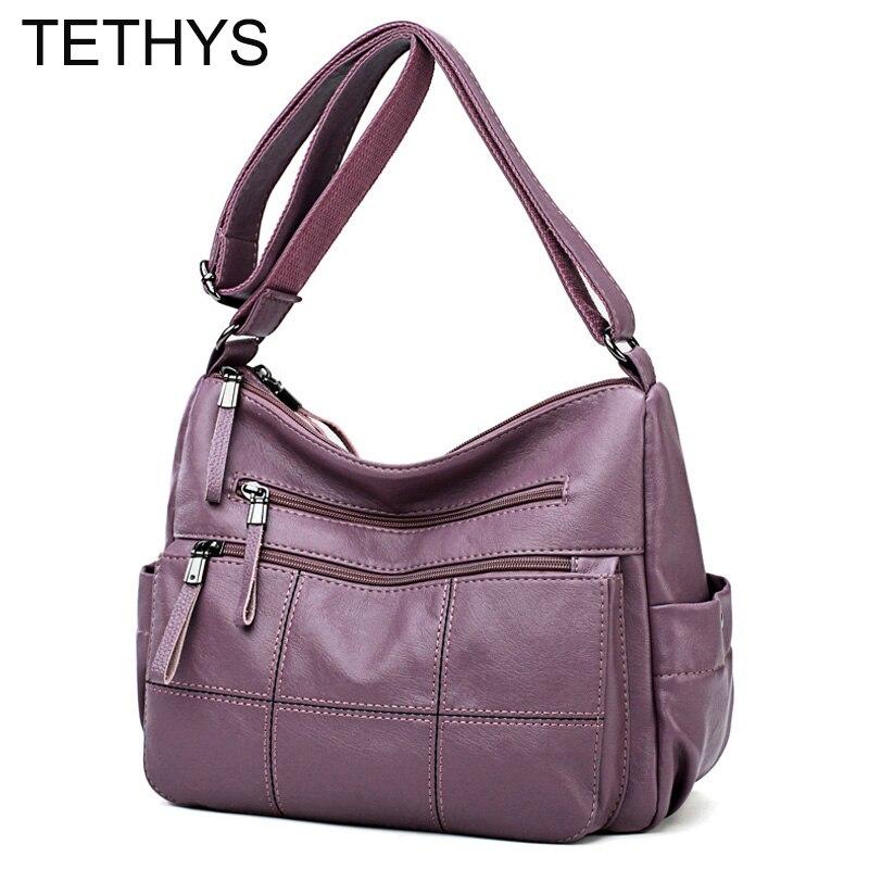 TETHYS Genuine Leather Handbags Women Shoulder Messenger Bag High Quality Women Crossbody Bags Large Capacity Female Bolso Mujer