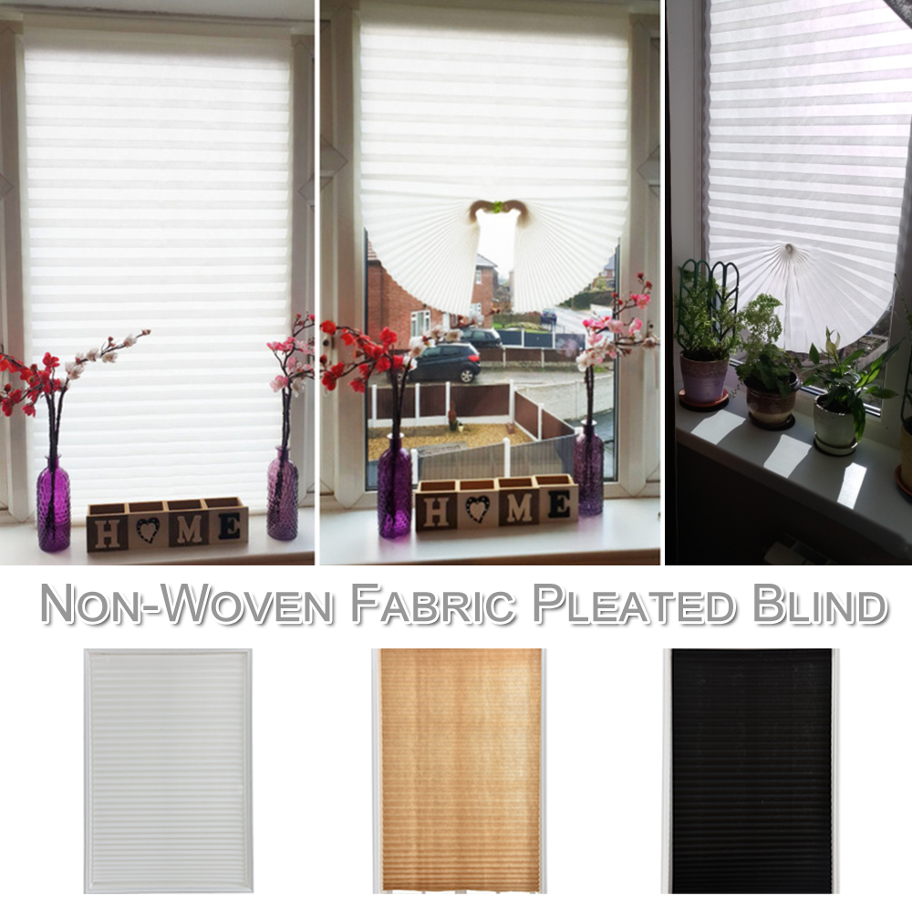 Coffee Pleated Blind Balcony Blackout Shades Non Woven Fabric Curtain Self Adhesive Curtain Bathroom Kitchen Home Decoration D30