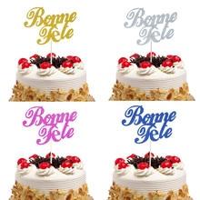 Bonne Fete French Happy Birthday Cake Topper Glitter Flags Party Baking Decor Babyshower 20pcs