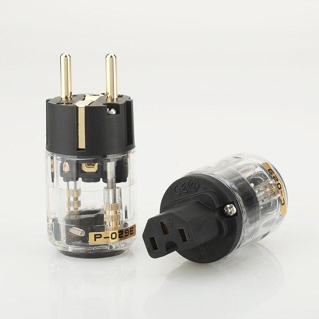 Para P029E + C029 wtyczka zasilania ue IEC siła żeńska złącze hifi diy wtyczka kabla zasilającego