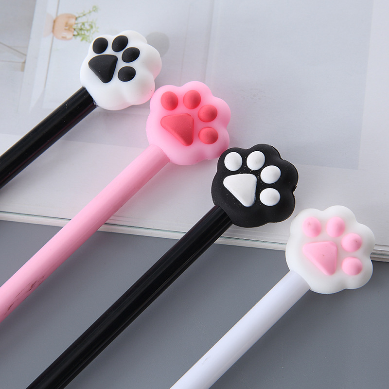 8 Pcs Cute Animal Cat Paw Pink Black Heart Gel Pens Signature Escolar Papelaria School Office Supply Promotional Gift Stationery