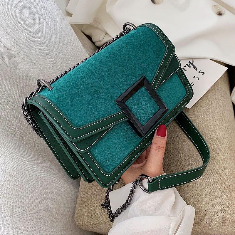 Scrub Leather Chain Crossbody Bags For Women 2019 Winter Shoulder Messenger Bag Female Travel Cell Phone Purses Handbags Clutch