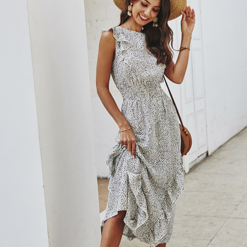 Summer <font><b>Elegant</b></font> <font><b>Sexy</b></font> Wave point beach Ruffles midi <font><b>Dress</b></font> <font><b>Women</b></font> 2020 <font><b>Fashion</b></font> Print dot Ladies boho Vacation <font><b>dress</b></font> <font><b>women</b></font> vestidos image