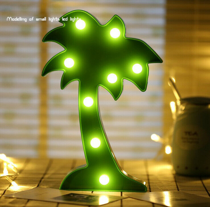 LED Neon Night Light  Coconut Tree Shape With Base Battery Powered Table Lamp For Xmas Party Romantic Wedding Decoration