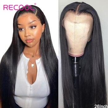 Recool 4X4 zamknięcie koronki peruka prosto koronki przodu włosów ludzkich peruk brazylijski koronkowa peruka na przód 180 200 gęstości 360 koronki przodu peruka