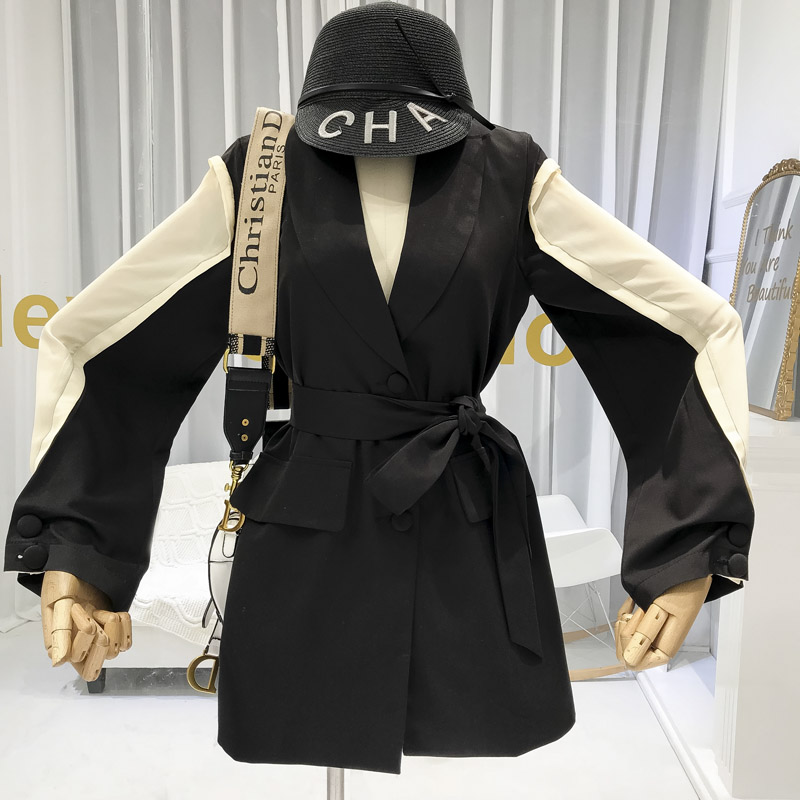 2019 Women Designer Jacket Women Office Lady Patchwork Lace Up Turn down Collar Single Breasted Womens Jackets and Coats in Jackets from Women 39 s Clothing