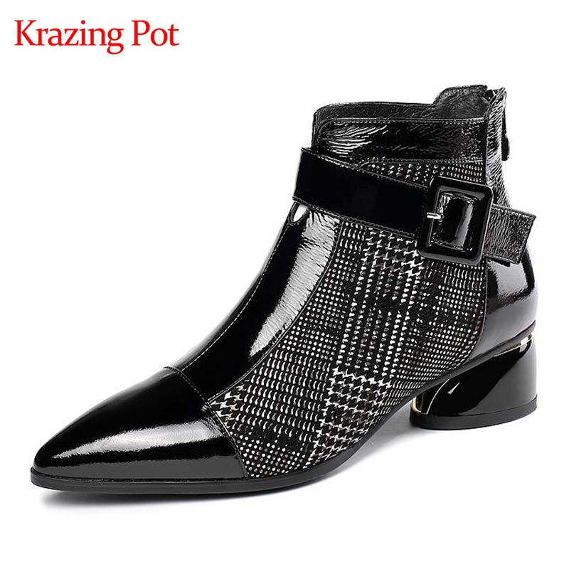 Krazing pot 2019 véritable cuir plaid tissu zipper couleur mélangée garder au chaud bout pointu talons ronds grande taille bottines L1f3