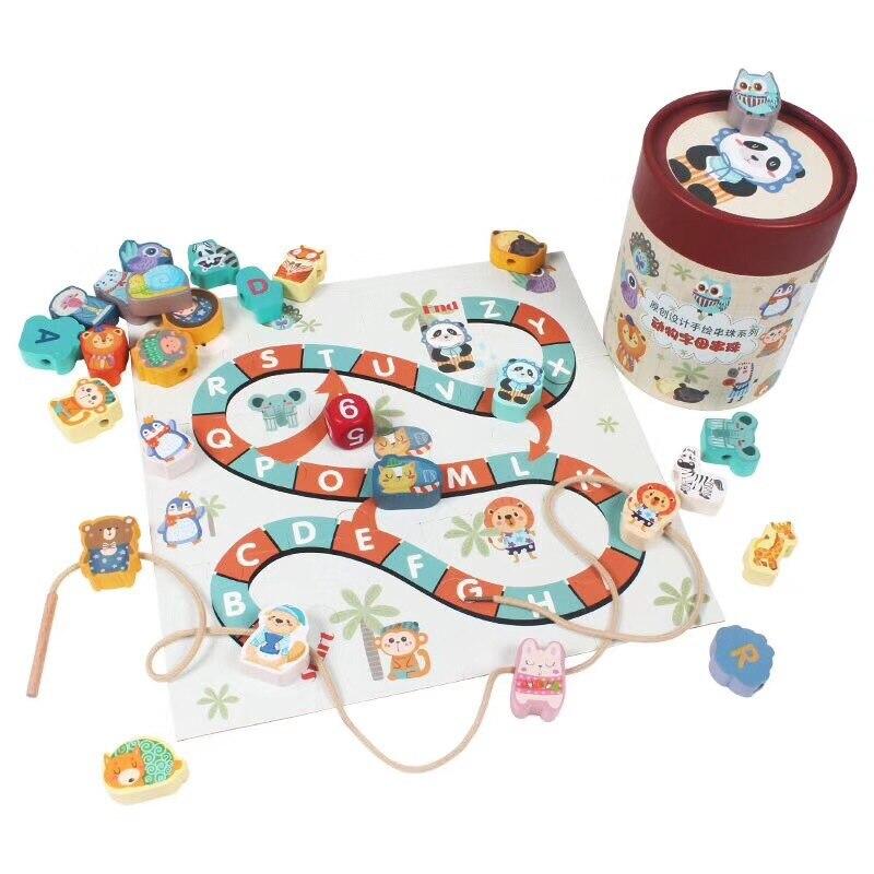 CHILDREN'S Cartoon Animal Fruit With Numbers Beaded Bracelet Educational Wearing Rope Building Blocks Aeroplane Chess Beaded Bra