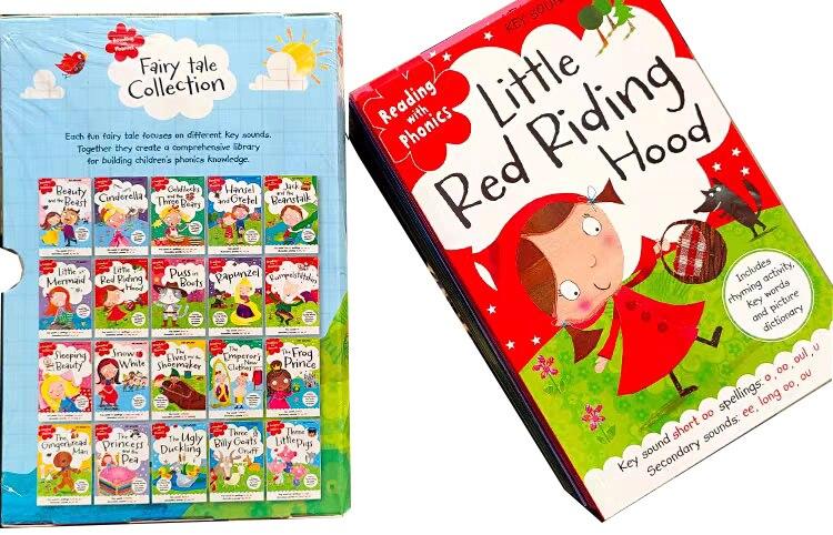 20 libros/juego de fonics, libro de cuentos de hadas inglés, capota roja para montar, Educación Temprana, libros de lectura en inglés para niños - 2