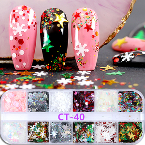 Image 4 - 12 colors/set Aluminum Irregular Holographic Glitter Powder Nail Colorful Flakes Manicure Nail Sequins Mirror Paillette Tips