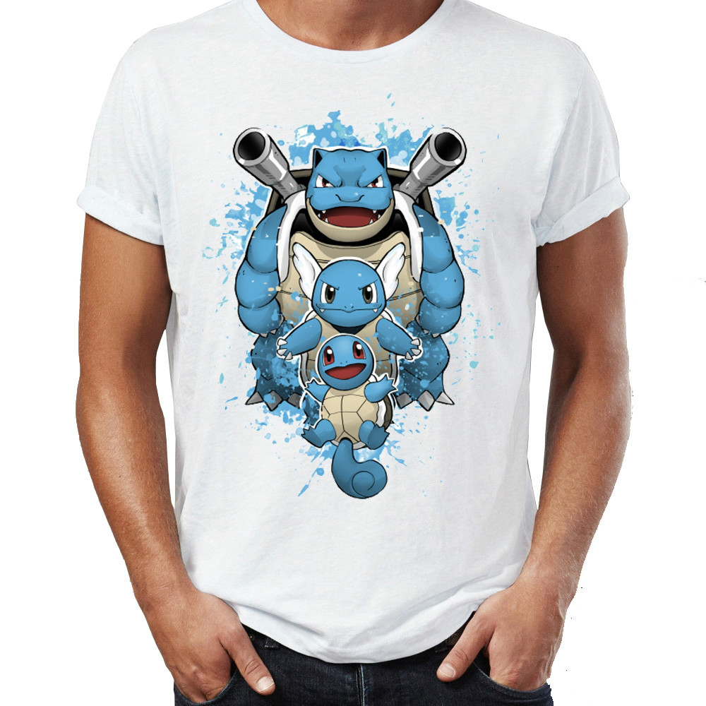 Men T-shirts Water Type Pokemon Tops Tees Wartortle Blastoise Squirtle Tshirt Awesome Watercolor Artwork Pocket Monster T Shirts